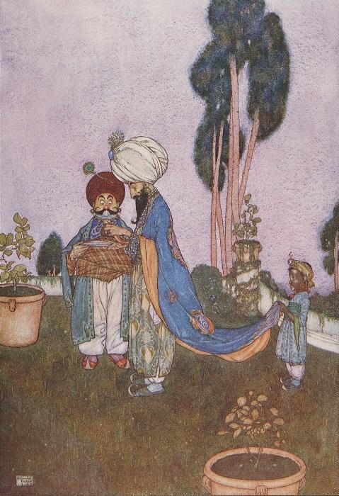 Арабский сборник, в свою очередь, переделка персидского. Иллюстрация Эдмунда Дюлака.